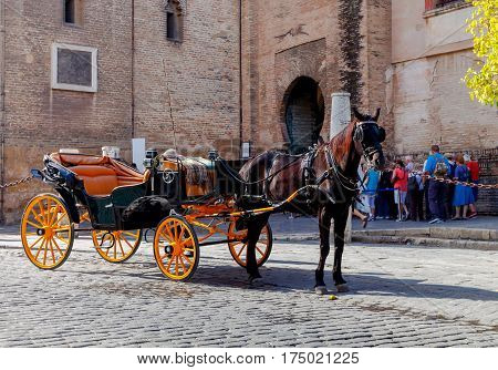 Horse-drawn carriage near the Giralda tower of the cathedral in Seville. Spain. Andalusia.