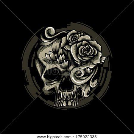 Skull Filigree Swirl Vintage Tattoo Fashion Print Urban Motif Design