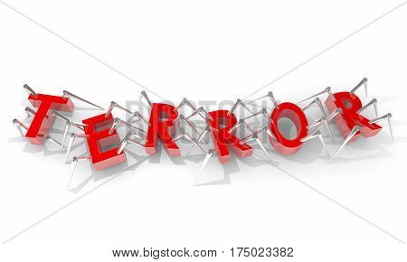 Terror Network Cell Spiders Letters Word 3d Illustration