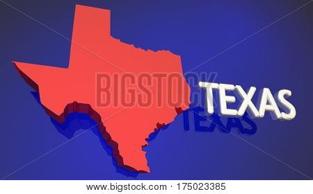 Texas Red State Map TX Word Name 3d Illustration