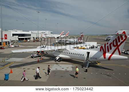 SYDNEY - APRIL 3: Aircrafts of the Virgin Australia fleet at Sydney Domestic Airport April 3th, 2014. Virgin Australia is Australia's second largest airline.