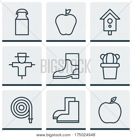 Set Of 9 Plant Icons. Includes Nectarine, Bugbear, Gardening Shoes And Other Symbols. Beautiful Design Elements.