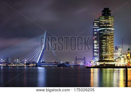 Amazing Night View At Erasmus Bridge In Rotterdam, Holland.