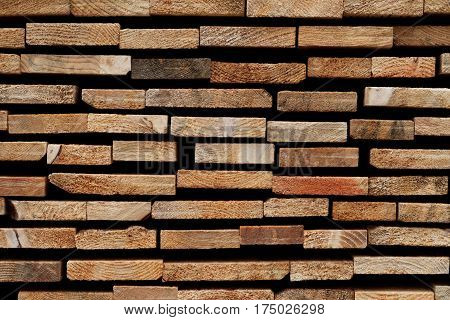 Abstract Wooden Background: Stacked Cross-Sections of Different Softwood Slats