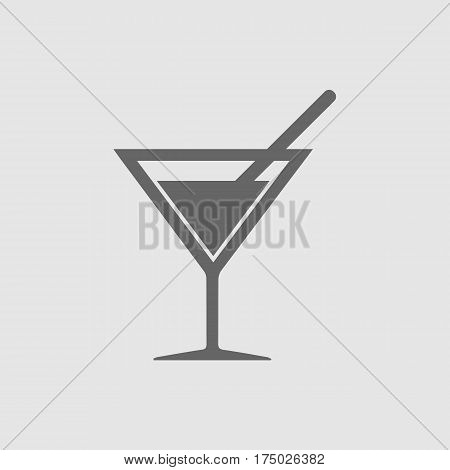 Cocktail vector icon EPS 10. Drink with straw simple isolated symbol.