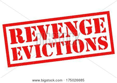 REVENGE EVICTIONS red Rubber Stamp over a white background.