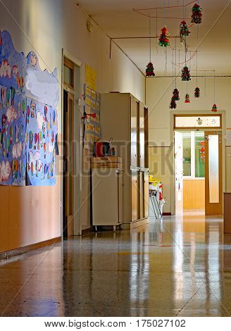 Long Corridor Of The Kindergarten With  Drawings