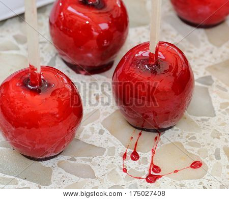 Caramelized Red Apple With Wooden Stick