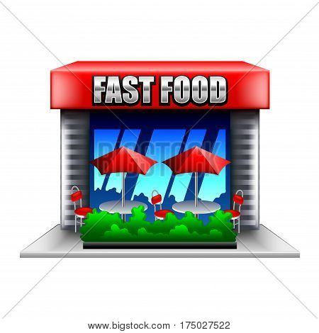 Fast food restaurant isolated on white photo-realistic vector illustration