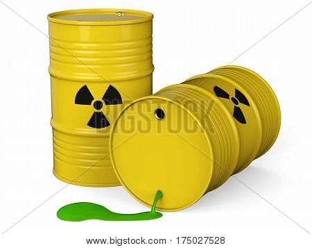 Spilled yellow barrels with toxic waste isolated on white background 3D rendering