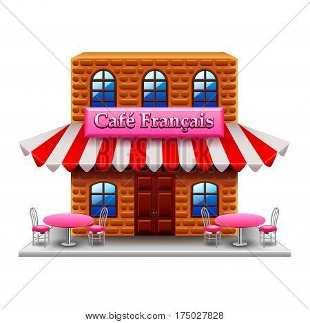 French cafe isolated on white photo-realistic vector illustration