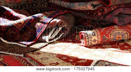 Many Carpets Of Different Quality On Sale In The Market