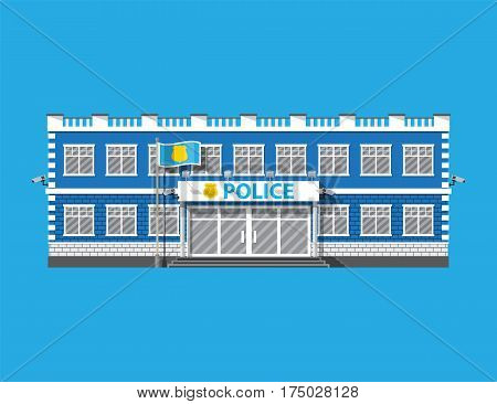 Police station building. Security cameras, flag with police symbol. Law, protection. Vector illustration in flat style