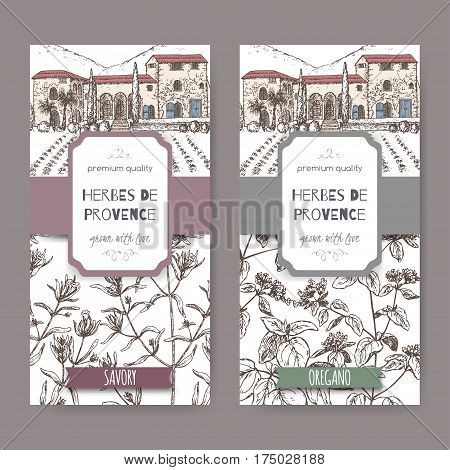 Two Herbes de Provence labels with Provence cottage, savory and oregano sketch. Culinary herbs collection. Great for cooking, medical, gardening design.