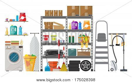 Interior of modern storeroom with metal shelves, storage, boxes, stair, wheels, cleaning accessories, washing machine, iron board, vacuum. Household. Vector illustration in flat style