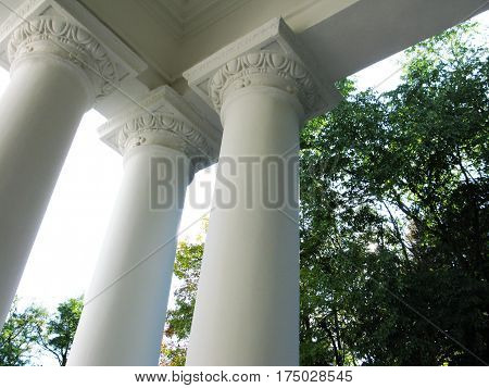 White columns of ancient building architecture photo