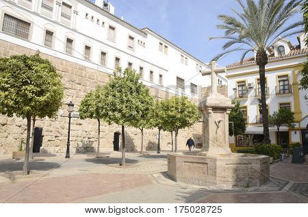 MARBELLA, SPAIN - FEBRUARY 27, 2017: Fountain in Church Square located in the old town of Marbella Andalusia Spain