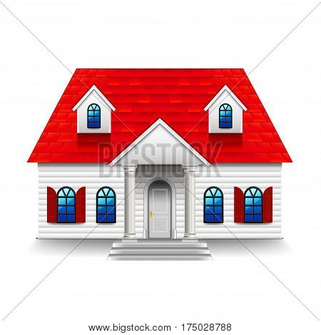 House with high roof isolated photo-realistic vector illustration
