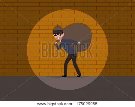 Vector illustration cartoon male thief carrying a bag with a loot. Character man robber with a big sack. Flat style. Caught a burglar by the wall.