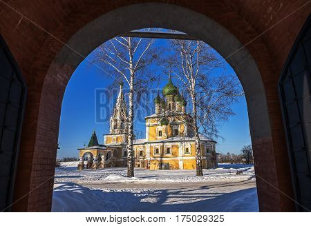 Church of St John the Baptist  in Uglich, as seen from the Resurrection Monastery, Russia