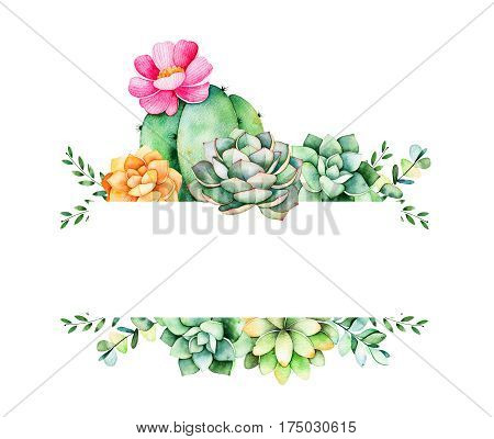 Colorful floral frame with leaves,succulent plant,branches and cactus.