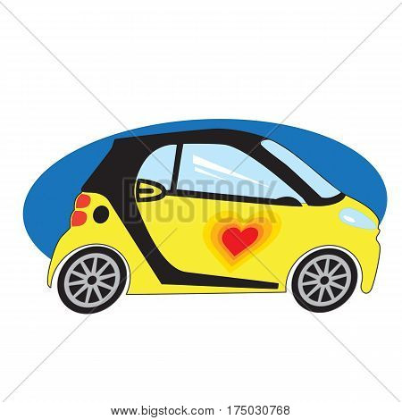 A yellow sub compact style car with a red heart on the door