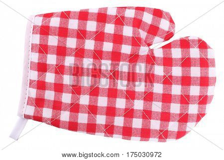 Mitt oven glove red white plaid