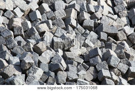 Stone cubes natural pile