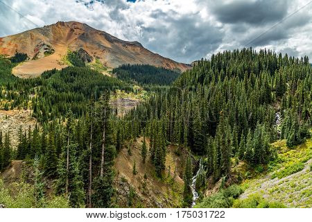 The San Juan Skyway forms a 233 mile loop in southwest Colorado traversing the heart of the San Juan Mountains festuring breathtaking mountain views and includes the portion of US 550 between Silverton and Ouray known as the Million Dollar Highway. poster
