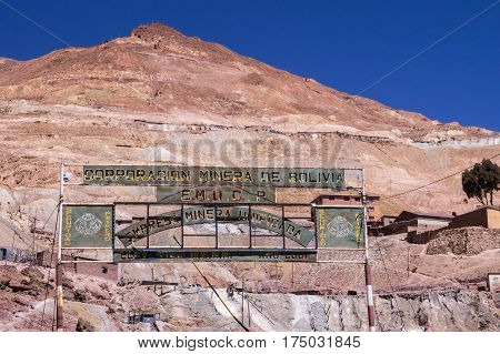 Potosi, Bolivia on September 14, 2015: Sign marks the entrance to Cerro Rico mountain mines