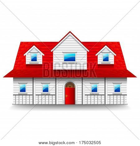 Wide two-storey house isolated photo-realistic vector illustration