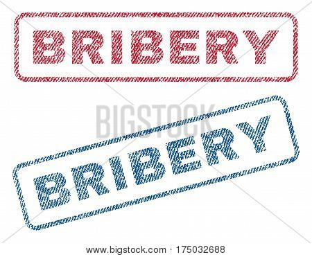 Bribery text textile seal stamp watermarks. Blue red fabric vectorized texture. Vector tag inside rounded rectangular shape. Rubber sign with fiber textile structure.