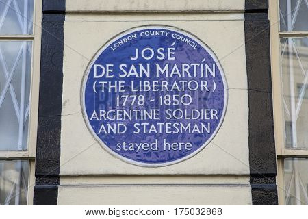 LONDON UK - FEBRUARY 16TH 2017: A blue plaque on Park Road in London marking the location where Argentine soldier and Statesman Jose De San Martin once stayed taken in London on 16th February 2017.