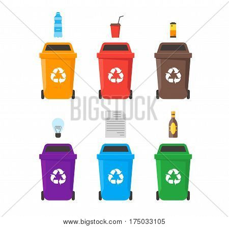 Colorful Recycle Six Bins Set with Examples for the Separation and Utilize of Garbage. Saving Of The Environment Vector illustration