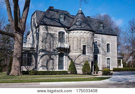 Elegant Gray Stone House Side
