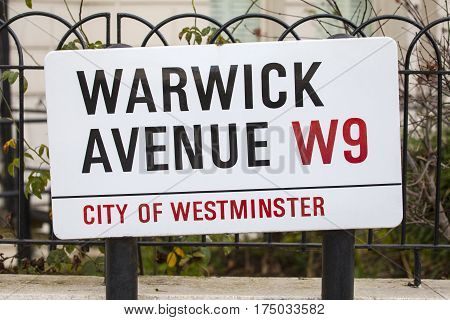 A street sign for Warwick Avenue in West London UK.