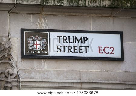 LONDON UK - FEBRUARY 17TH 2017: A street sign for Trump Street which is located in the historic City of London on 17th February 2017.