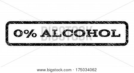 0 Percent Alcohol watermark stamp. Text caption inside rounded rectangle with grunge design style. Rubber seal stamp with unclean texture. Vector black ink imprint on a white background.