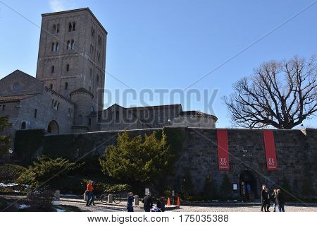 NEW YORK, NY - FEB 19: The Cloisters, a part of the Metropolitan Museum of Art, in New York, on Feb 19, 2017. The museum specializes in European medieval architecture, sculpture and decorative arts.