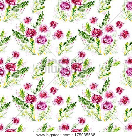 Watercolor flowers seamless pattern. Gentle Roses Shabby chic style on a white background for textile, fabrics, decoration wedding, wrapping paper, wallpaper, home decor, scrapbooking, skin smartphone
