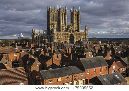 A view of the magnificent Lincoln Cathedral in the historic city of Lincoln UK.