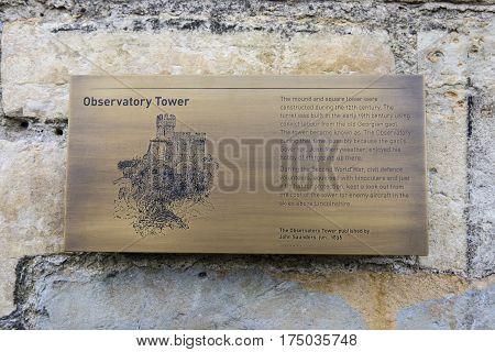 LINCOLN UK - FEBRUARY 28TH 2017: An information plaque about the Observatory Tower at Lincoln Castle in the historic city of Lincoln UK on 28th February 2017.