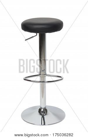 Glossy metal bar stool isolated on white background
