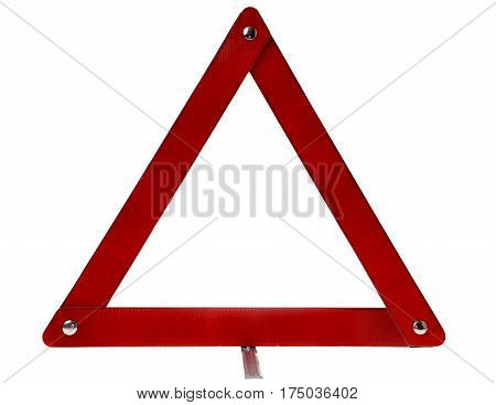 Warning triangle sign that is placed on the road in case of car breakdown. Isolated on white