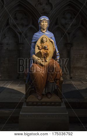 LINCOLN UK - FEBRUARY 27TH 2017: A sculpture of Virgin Mary with Jesus Christ on display at Lincoln Cathedral in the historic city of Lincoln UK on 27th February 2017.