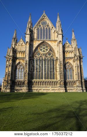A view of the eastern facade of Lincoln Cathedral in the historic city of Lincoln UK.