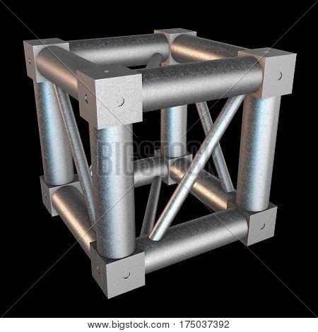Steel truss girder cube element. 3d render on black