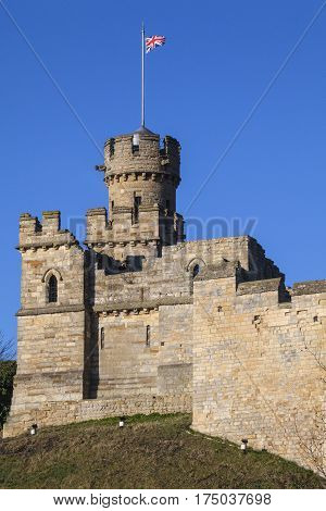 The historic Observatory Tower at Lincoln Castle in the city of Lincoln UK.