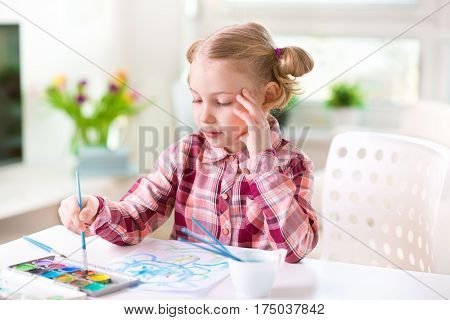 Pretty Little Child Girl Painting With Colorful Paint At Home