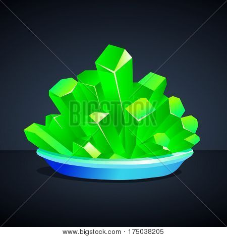 Green crystals of iron vitriol on a dark background